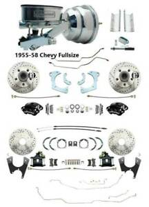 1955 58 Chevy Bel Air Front Rear Disc Brake Kit W Front Wilwood Calipers Lines