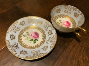 Vintage Windsor Bone China Teacup And Saucer Blue With Rose