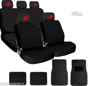 For Nissan New 4x Red Lips Logo Headrest Black Fabric Seat Covers And Mats