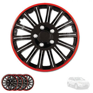 For Ford New 15 Inch Black W Red Rim Wheel Hubcaps Cover Lug Skin Set 527