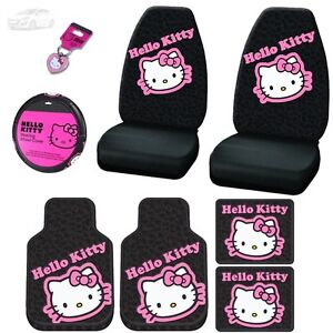 For Hyundai New Design Hello Kitty Car Seat Steering Covers Mats Key Chain Set
