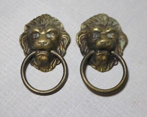 Large Pair Of Antique Brass Victorian Lion Heads Drawer Furniture Pull Handles