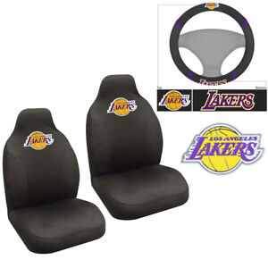 Nba Los Angeles Lakers Car Truck Front Seat Covers Steering Wheel Cover