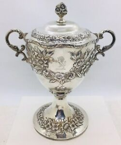 S Kirk Son Antique Sterling Silver Floral Repousse 2 Handled Covered Urn Pot
