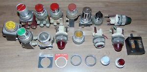 Vintage Lot Of Push Button Switches Start Stop Lights Steampunk