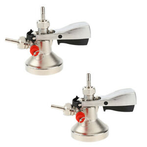 2x Stainless Steel Beer Keg Coupler Draft Beer Tap Beer Dispenser Faucet