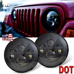 7 Round Cree Led Headlights High Low Beam For Jeep Wrangler Jk Tj Lj Cj Hummer