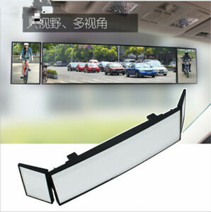 Car Tri Fold Curved Rear View Mirror Wide Angle Panoramic Anti Dazzling 380mm