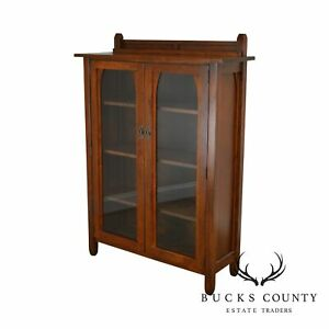 Mission Arts Crafts Style Solid Cherry 2 Door Bookcase