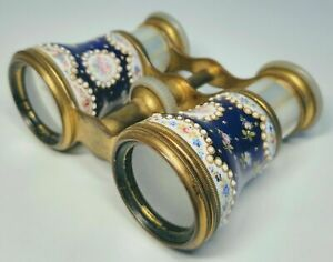 1900s French Jeweled Enamel Bronze And Mother Of Pearl Fancy Binoculars