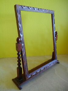 Antique Vtg Standing Swivel Wood Picture Frame Hand Carved For 8 X 10 Photo