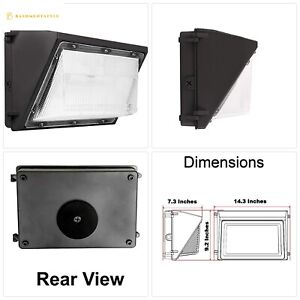 Led Wall Pack Photo Cell 80w 5000k Commercial Outdoor Light Fixture Dimmable