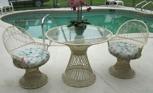 Vintage Spun Fiberglass By Russell Woodard Patio Set Glass Table Two Chairs