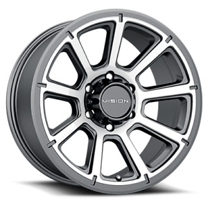 20x9 Vision Off Road 353 Turbine Gunmetal Machined Wheels 6x135 18mm Set Of 4