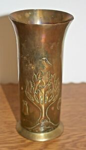 Keswick School Of Industrial Art Ksia Arts And Crafts Brass Vase Symbolising G