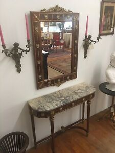 Vintage French Console Table Mirror