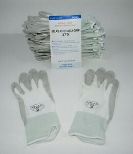 Atlas 370 Showa Work Gloves Nitrile Rubber Palms 12 Pair Medium White