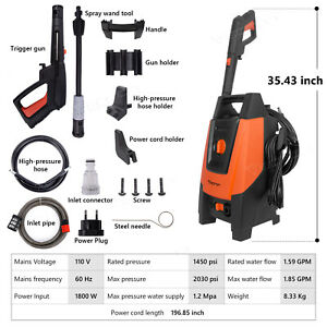 2030 Psi High Power Water Electric Pressure Washer 1800w 1 85gpm Cleaner Machine