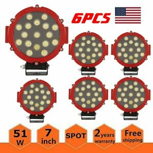6x 51w Round Led Light Bar Offroad Fog Lights Waterproof Driving Lamp 4wd Red