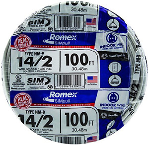 100 Ft 14 2 With Ground Romex Brand Simpull For Easier Pulling Electrical Wire