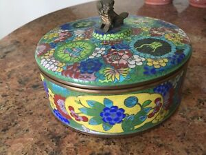 Antique Champleve Chinese Segmented Covered Dish Foo Dog Beautiful Condition