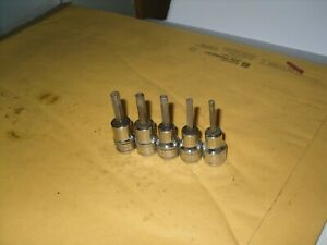 Snap On 5pc 3 8 Drive Hex Bit Socket Set Sae 9 64 5 32 3 16 7 32 1 4