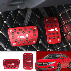 Red Foot Gas Brake Pedal 2pcs Automatic Accessories For 2016 2019 Honda Civic At
