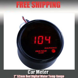 2 52mm Water Temp Temperature Digital Led Meter Gauge Red 7036