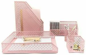 Pink Desk Organizer For Women Teens Girls Home Office Letter Tray Holder 5 Piece