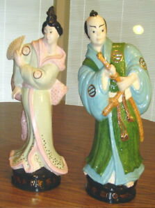 Large Pair Of Delta Samurai And Geisha Japanese Porcelain Painted Statues 14