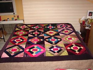 Antique Handmade Crazy Quilt With Detailed Embroidery