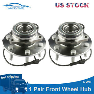 2 Pcs Front Wheel Hub Bearing Assembly W Abs For Chevy Gmc Truck 4x4 4wd New