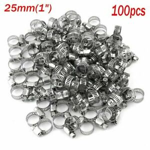 100 Pieces Adjustable Hose Clamps Worm Gear Stainless Steel Clamp Assortment To