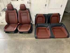 2015 2017 Ford Mustang Gt Saddle Leather Front Rear Seats Power Oem