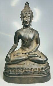 Antique 1920s Chinese Bronze Buddha In Earth Touching Pose Meditation Statue