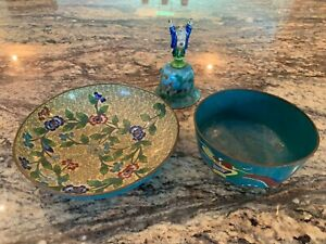 Group Of 3 Chinese Cloisonne Items Including 2 Bowls Buddha Bell