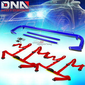 Blue 49 stainless Steel Chassis Harness Rod red 4 pt Strap Buckle Seat Belt