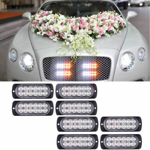 8x Amber White 12 Led Emergency Hazard Warning Flash Strobe Lights Bar For Truck