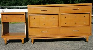 Vintage Dresser Credenza And Side Table By Bassett Mid Century Modern Mcm