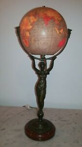 Rare Antique French Bronze Roman Neoclassical Lady Terrestrial Glass Globe Lamp