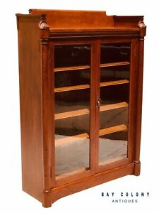 19th C Victorian Double Door Shell Carved Oak Antique Bookcase China Super