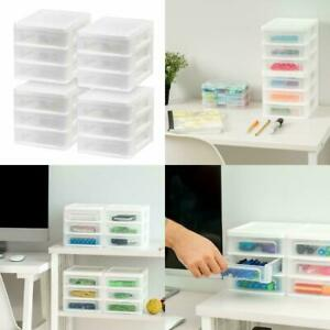 Plastic Storage 3 Drawers Clear Rack Container Bin Cabinet Organizer 4 Pack New
