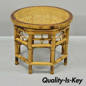 Vtg Brighton Pavilion Style Bamboo Cane Chinese Chippendale Round Side Table