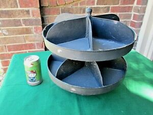Vintage Industrial 2 Tier Countertop Rotating Parts Bin For Shop Or Home
