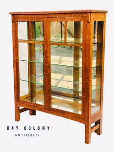 20th C Antique Arts Crafts Mission Oak Mirrored China Cabinet Bookcase