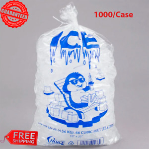 1000 case 10 Lb Clear Plastic Printed Ice Bags Store Machine Commercial Barcode