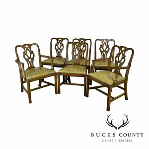Baker Vintage Set 6 Solid Mahogany Chippendale Style Dining Chairs