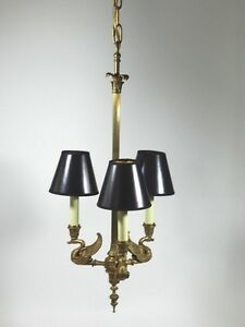 Antique French Empire Bronze Chandelier Swan Lamp