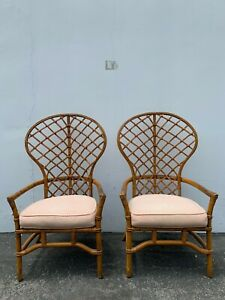 Pair Of Chairs Bamboo Set Armchair Bohemian Boho Chic Wingback Living Room Set