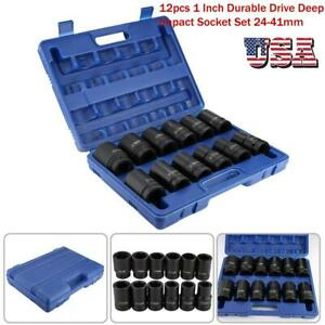 12pcs 1 Inch Durable Drive Deep Impact Socket Tool Set 24 41mm W Case Us Stock